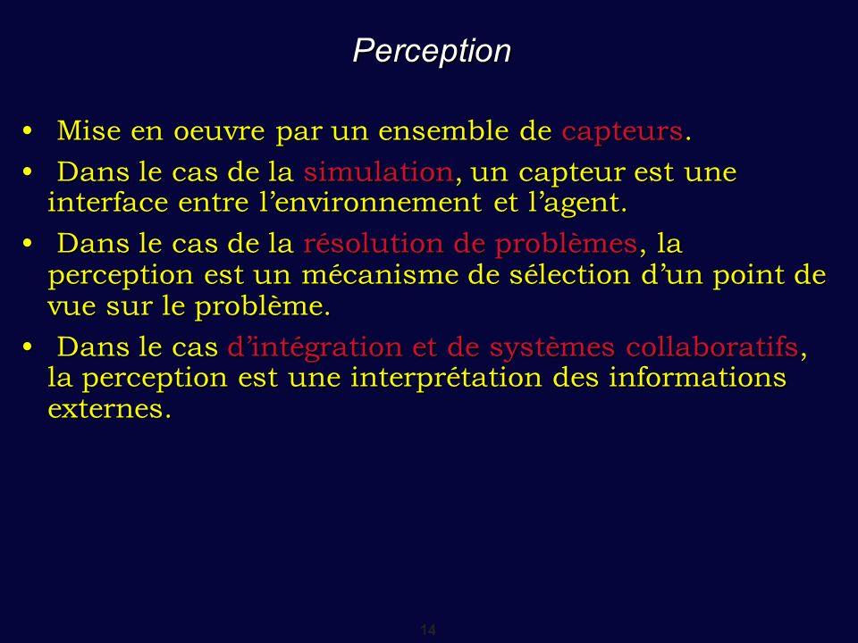 Perception Mise en oeuvre par un ensemble de capteurs.