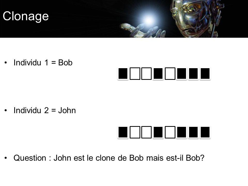Clonage Individu 1 = Bob Individu 2 = John