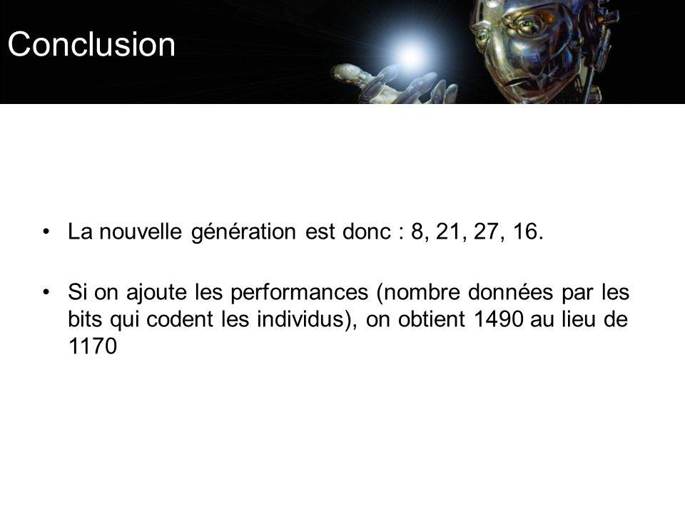 Conclusion La nouvelle génération est donc : 8, 21, 27, 16.