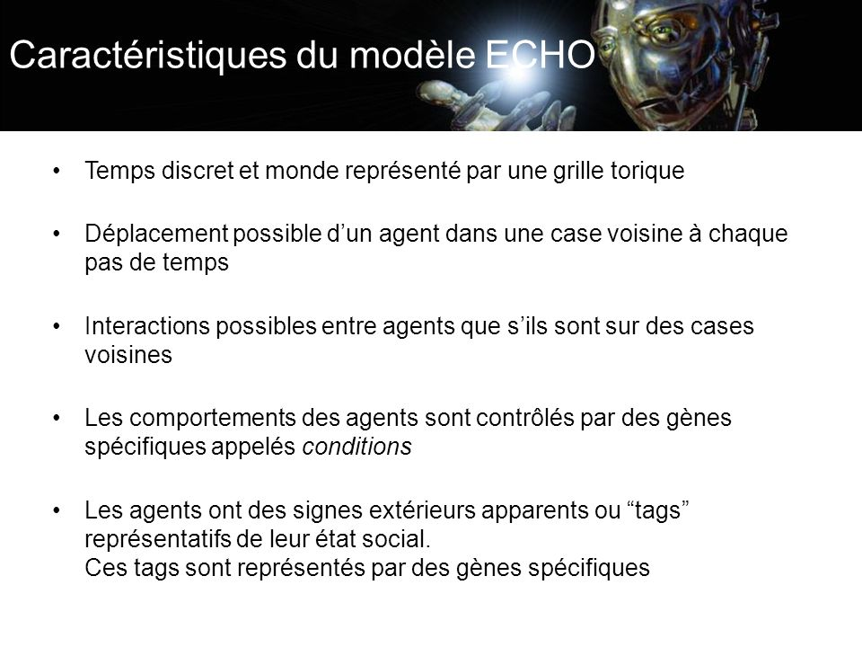 Caractéristiques du modèle ECHO