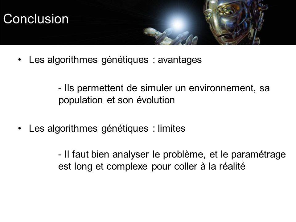 Conclusion Les algorithmes génétiques : avantages