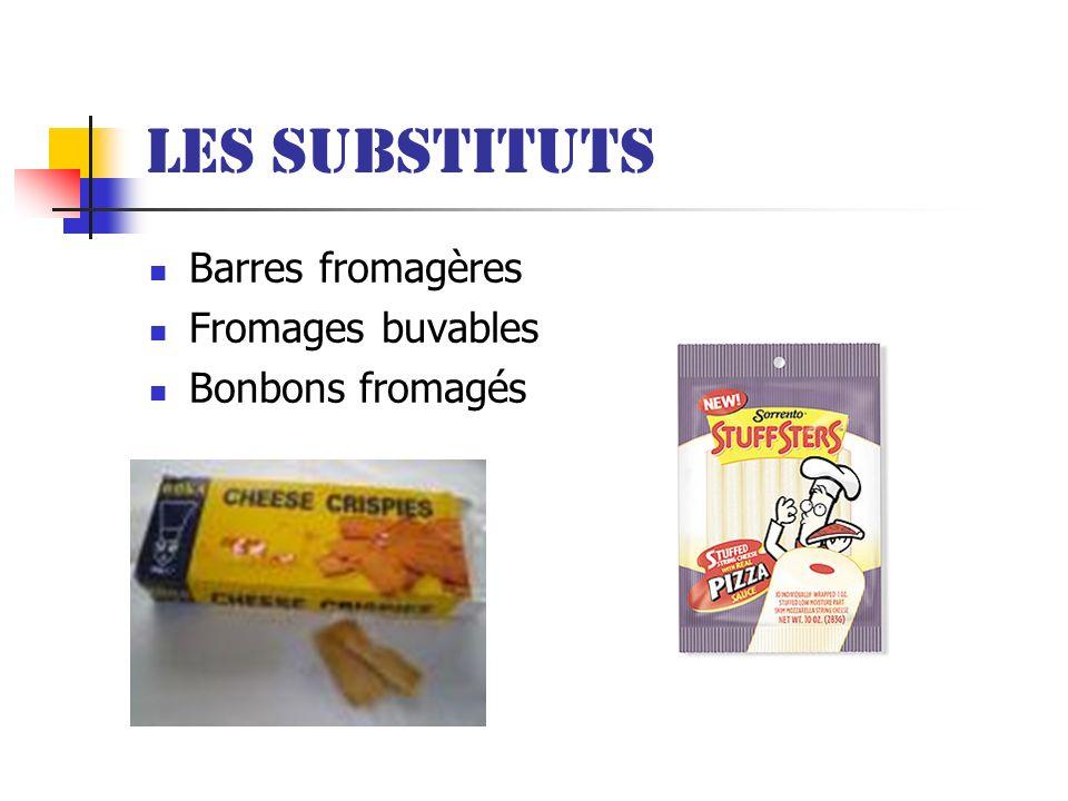 Les substituts Barres fromagères Fromages buvables Bonbons fromagés