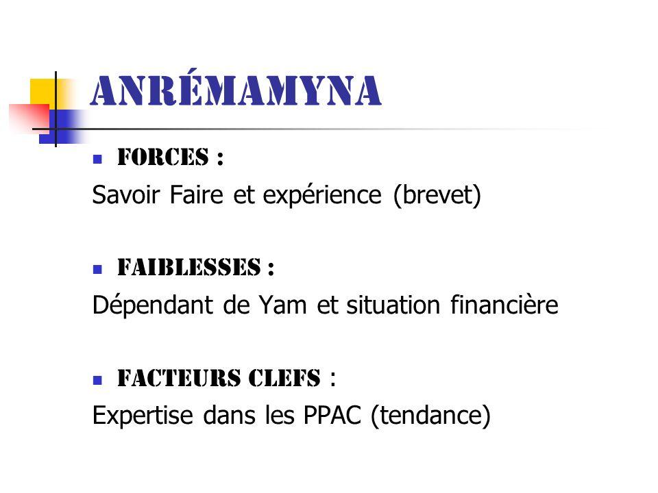 Anrémamyna Forces : Savoir Faire et expérience (brevet) Faiblesses :