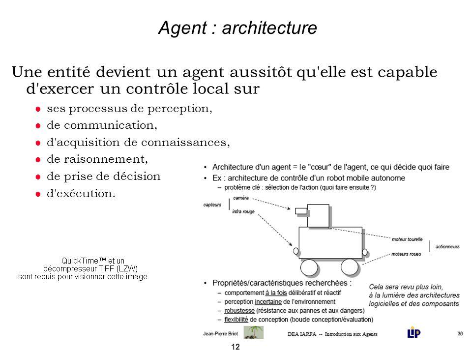 Agent : architectureUne entité devient un agent aussitôt qu elle est capable d exercer un contrôle local sur.