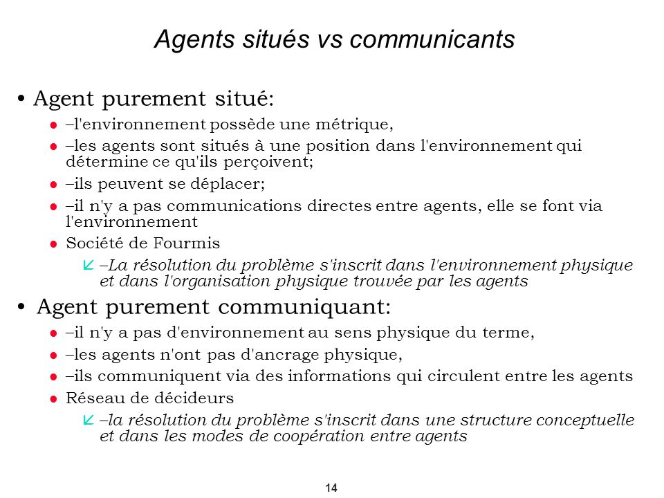 Agents situés vs communicants