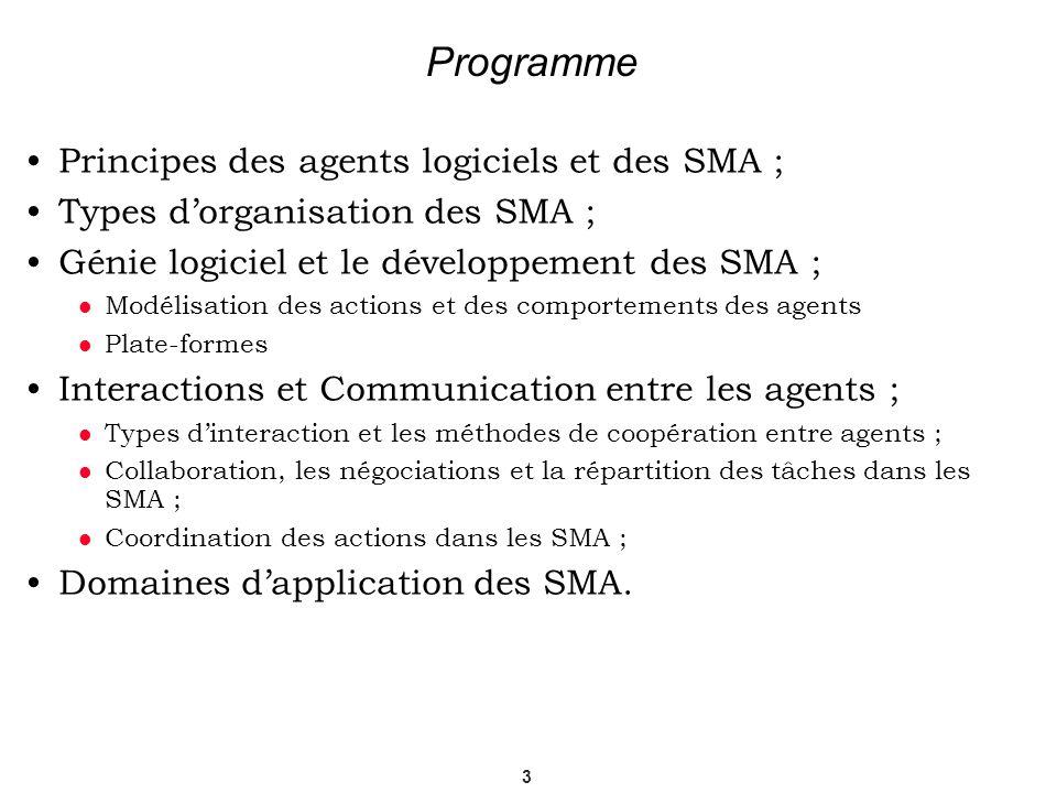 Programme Principes des agents logiciels et des SMA ;