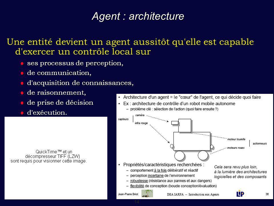Agent : architecture Une entité devient un agent aussitôt qu elle est capable d exercer un contrôle local sur.
