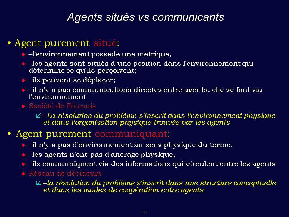 Agents situés vs communicants