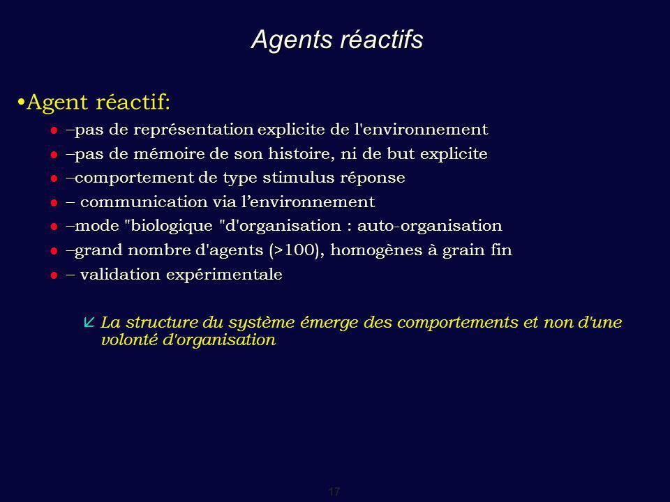 Agents réactifs •Agent réactif: