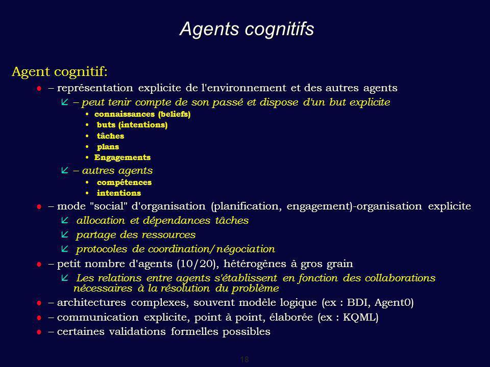 Agents cognitifs Agent cognitif: