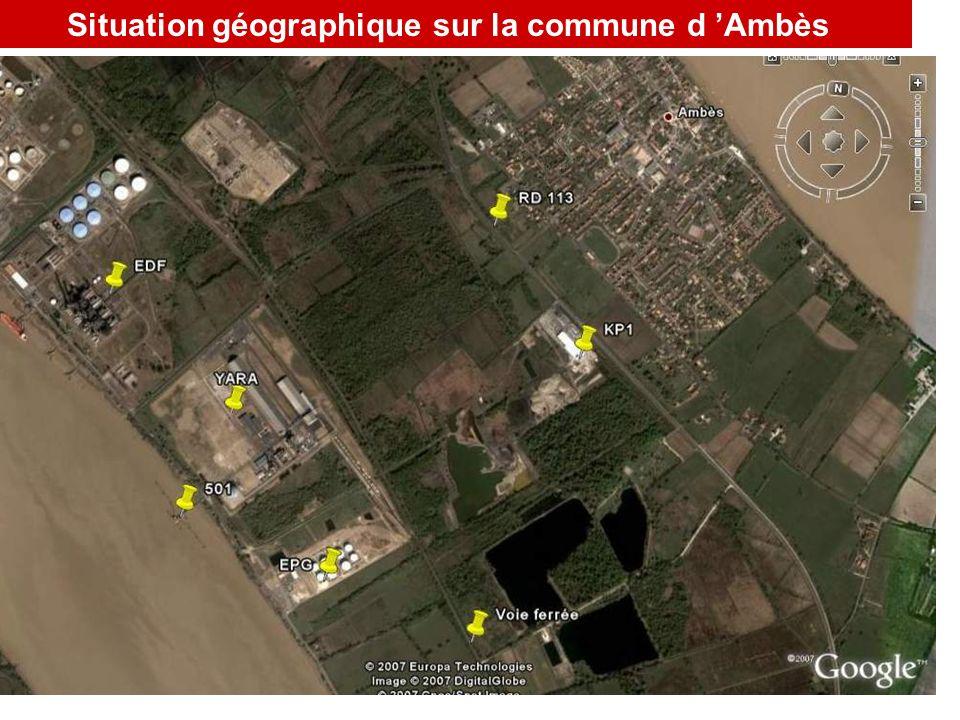 Situation géographique sur la commune d 'Ambès