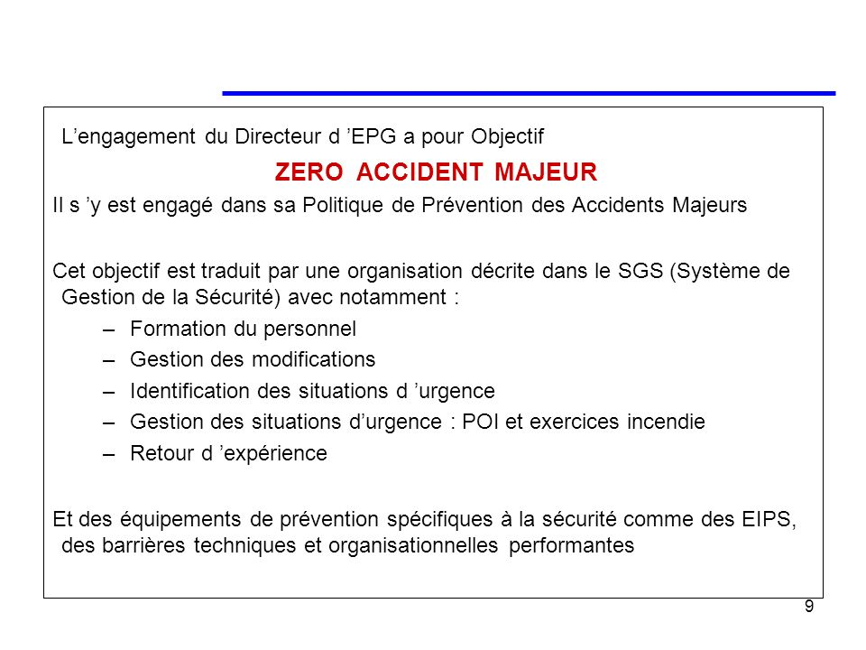 L'engagement du Directeur d 'EPG a pour Objectif