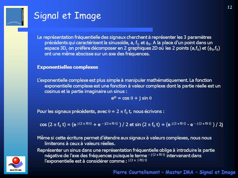La représentation fréquentielle des signaux cherchent à représenter les 3 paramètres précédents qui caractérisent la sinusoïde, a, fO et f0. A la place d'un point dans un espace 3D, on préfère décomposer en 2 graphiques 2D où les 2 points (a,f0) et (f0,f0) ont une même abscisse sur un axe des fréquences.