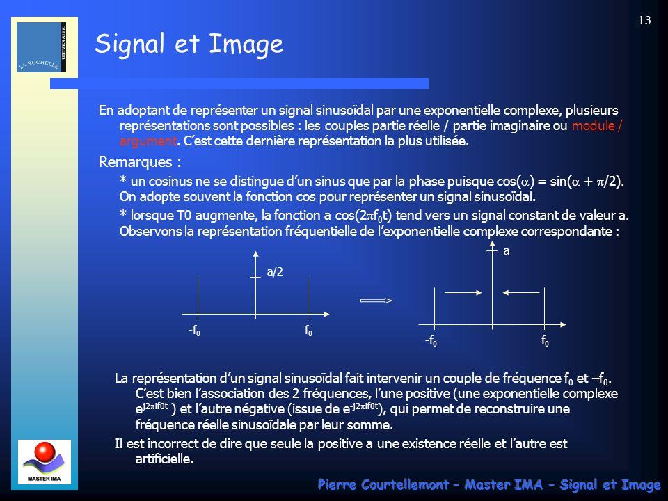 En adoptant de représenter un signal sinusoïdal par une exponentielle complexe, plusieurs représentations sont possibles : les couples partie réelle / partie imaginaire ou module / argument. C'est cette dernière représentation la plus utilisée.