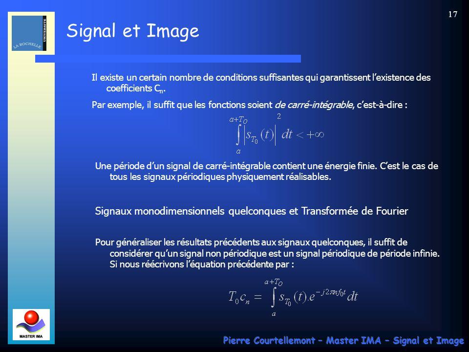 Signaux monodimensionnels quelconques et Transformée de Fourier