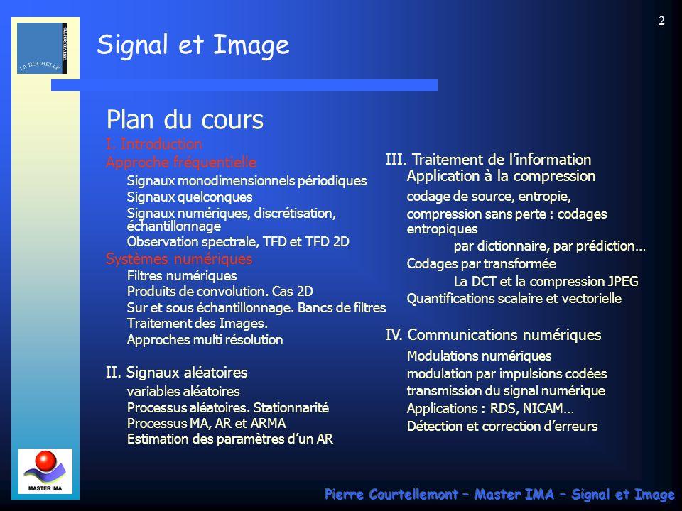 Plan du cours I. Introduction Approche fréquentielle