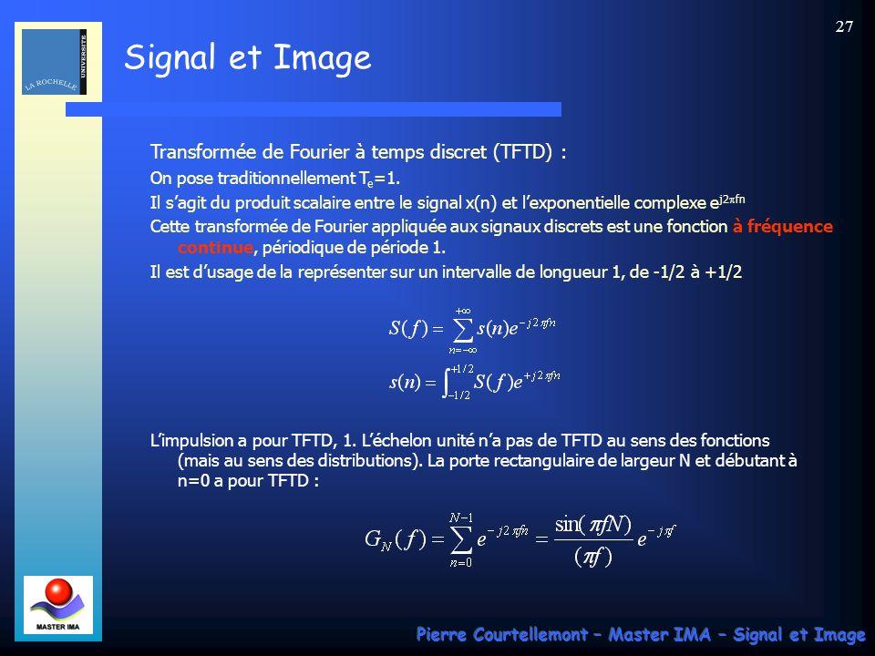 Transformée de Fourier à temps discret (TFTD) :