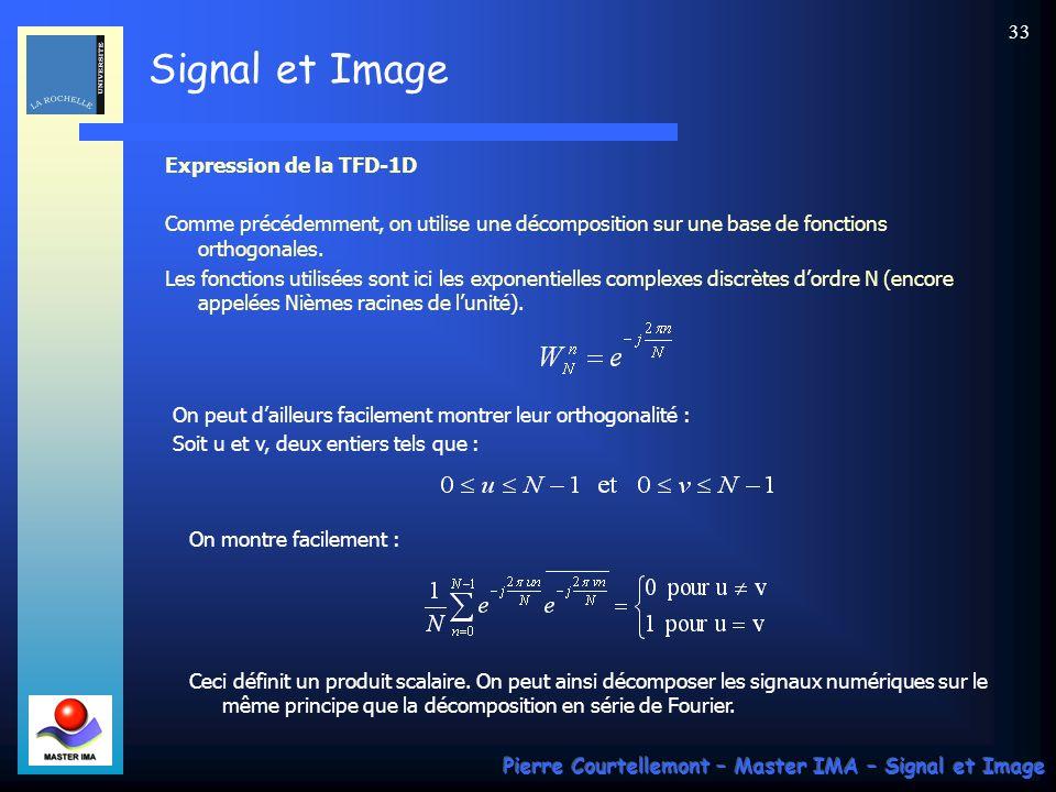Expression de la TFD-1D Comme précédemment, on utilise une décomposition sur une base de fonctions orthogonales.