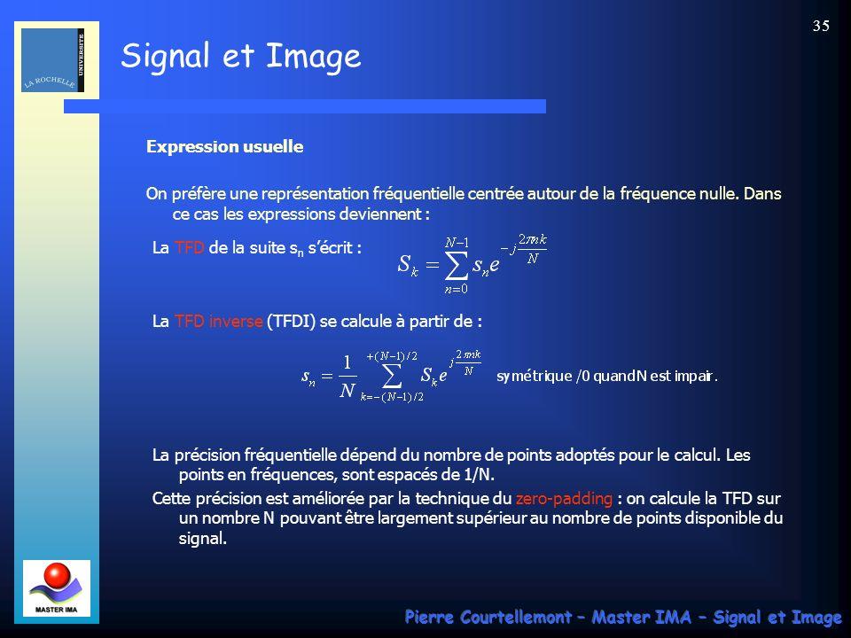Expression usuelle On préfère une représentation fréquentielle centrée autour de la fréquence nulle. Dans ce cas les expressions deviennent :