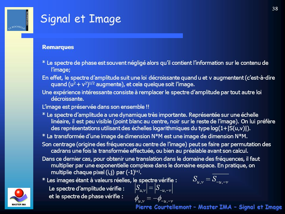 Remarques * Le spectre de phase est souvent négligé alors qu'il contient l'information sur le contenu de l'image;