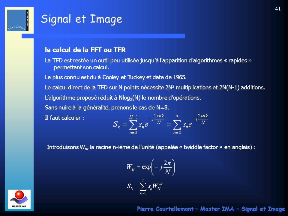 le calcul de la FFT ou TFR