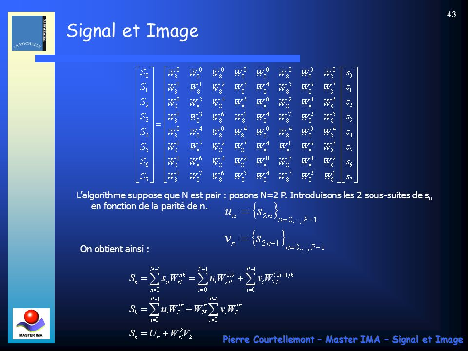 L'algorithme suppose que N est pair : posons N=2 P
