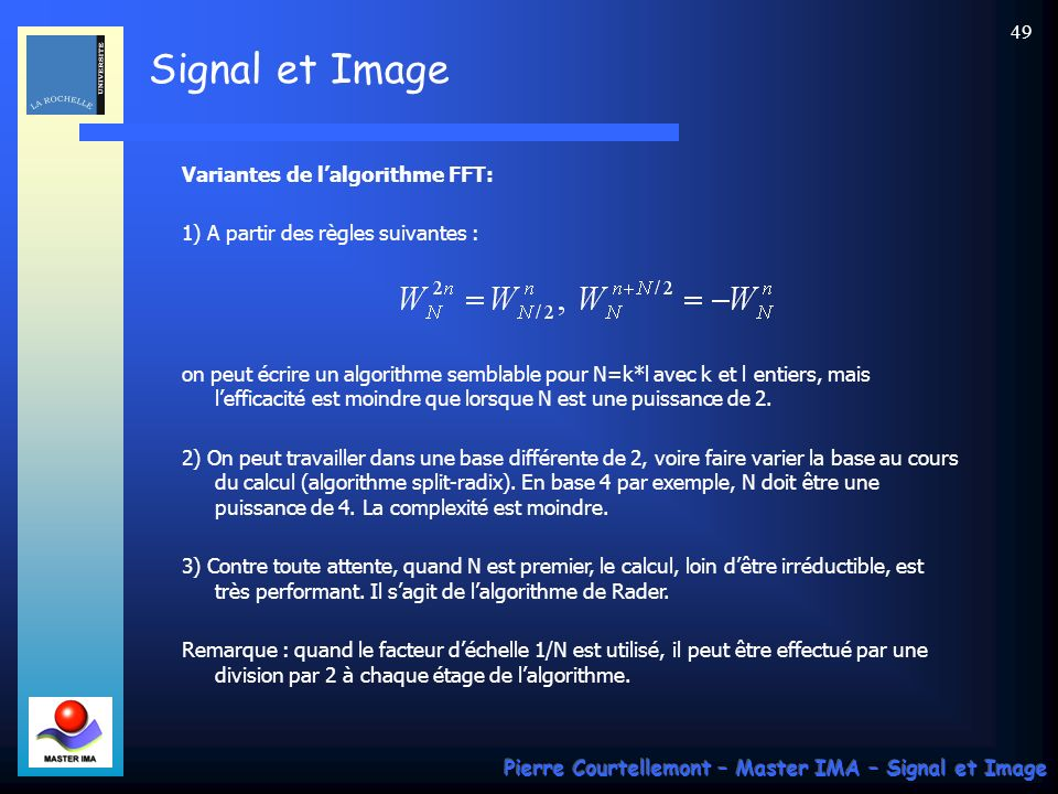 Variantes de l'algorithme FFT: