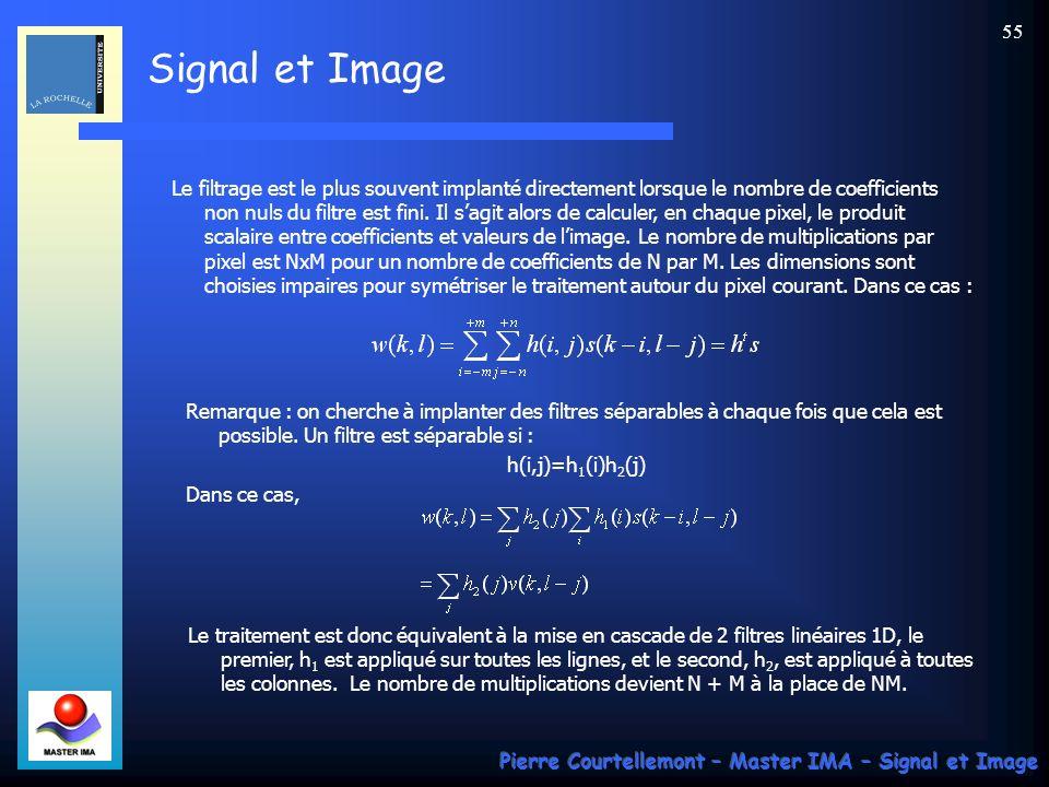 Le filtrage est le plus souvent implanté directement lorsque le nombre de coefficients non nuls du filtre est fini. Il s'agit alors de calculer, en chaque pixel, le produit scalaire entre coefficients et valeurs de l'image. Le nombre de multiplications par pixel est NxM pour un nombre de coefficients de N par M. Les dimensions sont choisies impaires pour symétriser le traitement autour du pixel courant. Dans ce cas :