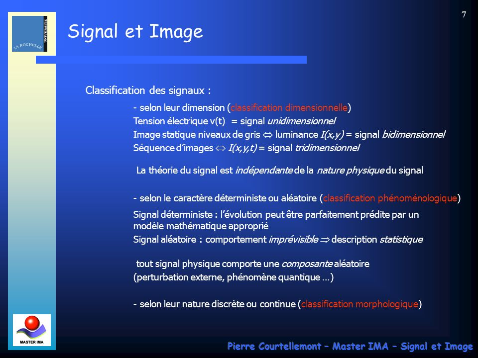 Classification des signaux :
