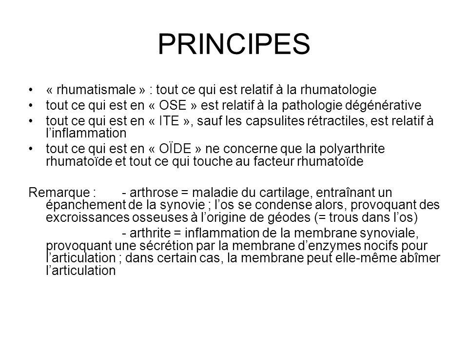PRINCIPES « rhumatismale » : tout ce qui est relatif à la rhumatologie