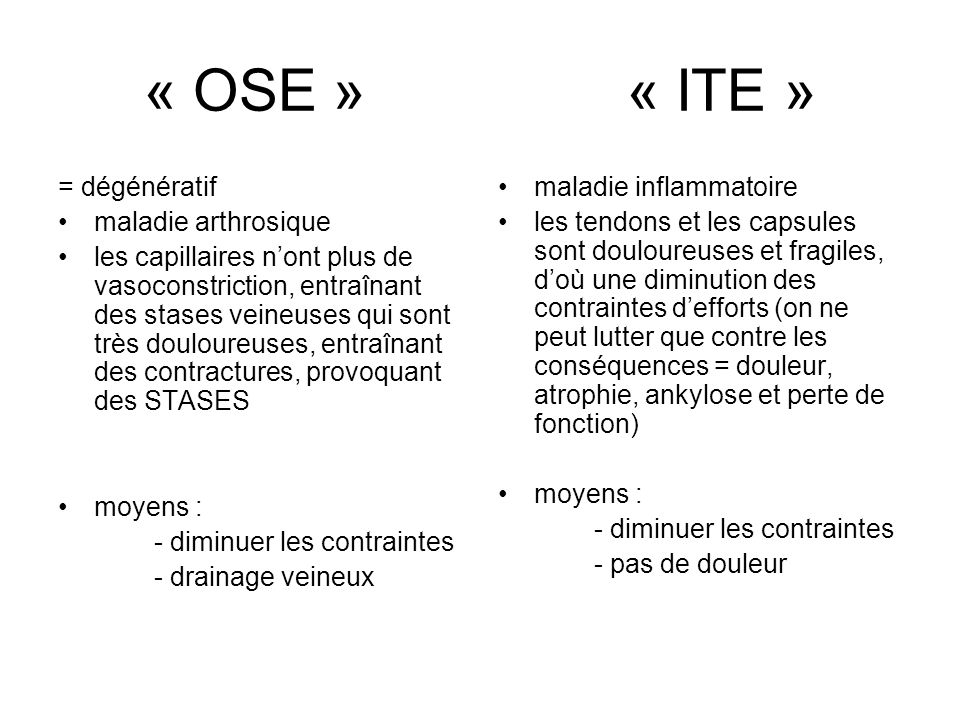 « OSE » « ITE » = dégénératif maladie arthrosique