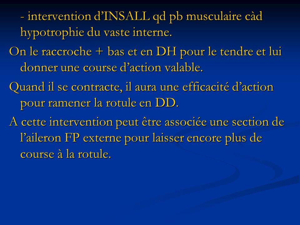 - intervention d'INSALL qd pb musculaire càd hypotrophie du vaste interne.
