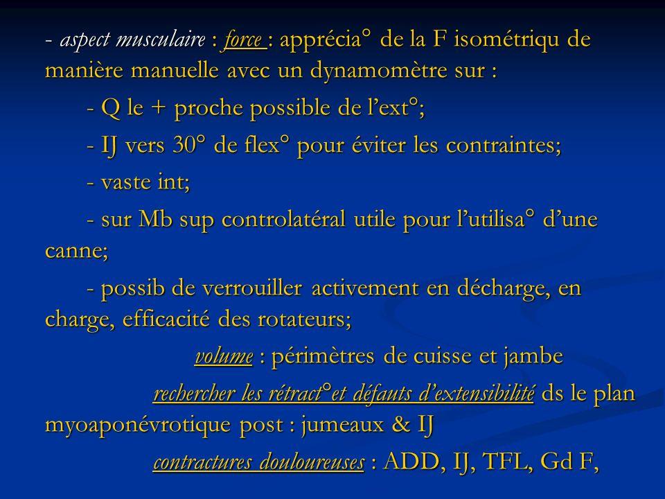 - aspect musculaire : force : apprécia° de la F isométriqu de manière manuelle avec un dynamomètre sur :