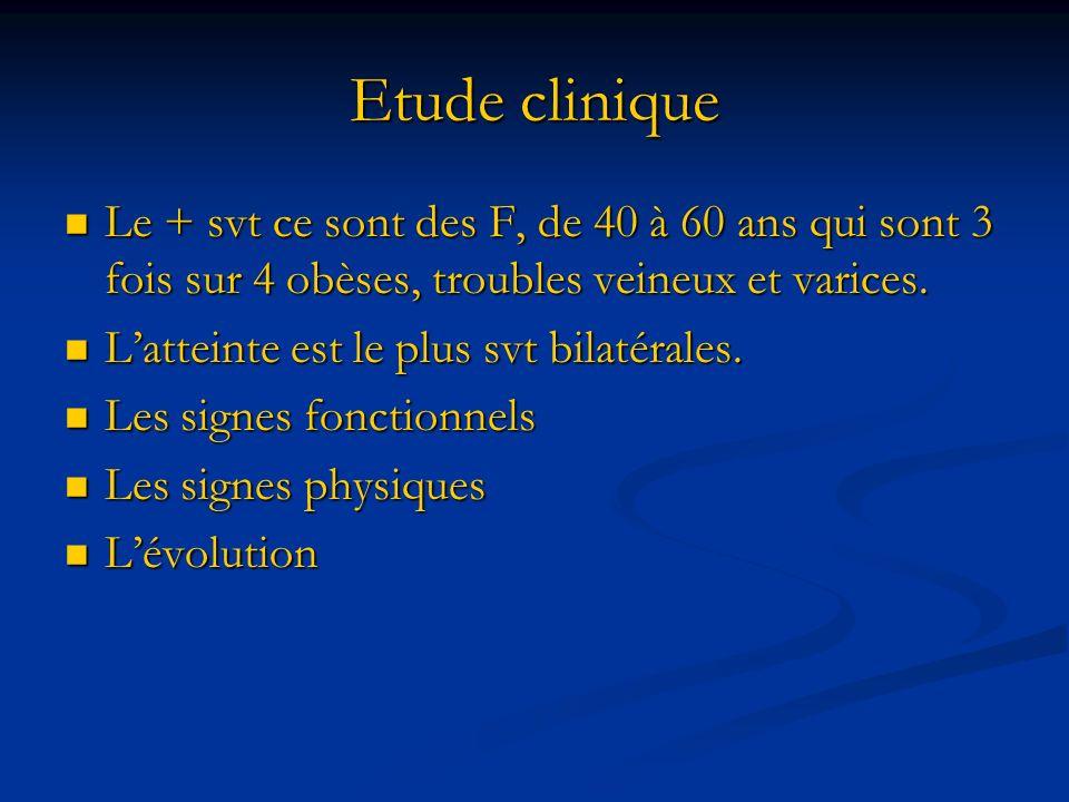 Etude clinique Le + svt ce sont des F, de 40 à 60 ans qui sont 3 fois sur 4 obèses, troubles veineux et varices.