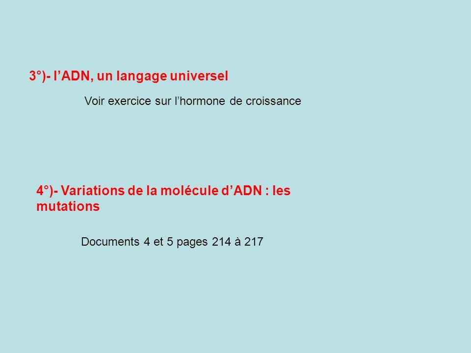 3°)- l'ADN, un langage universel