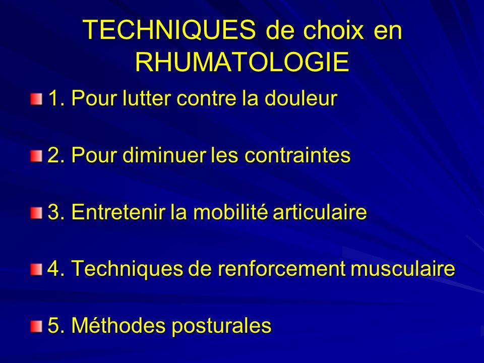 TECHNIQUES de choix en RHUMATOLOGIE