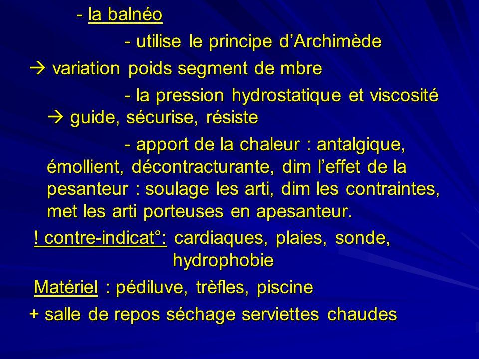 - la balnéo - utilise le principe d'Archimède.  variation poids segment de mbre.