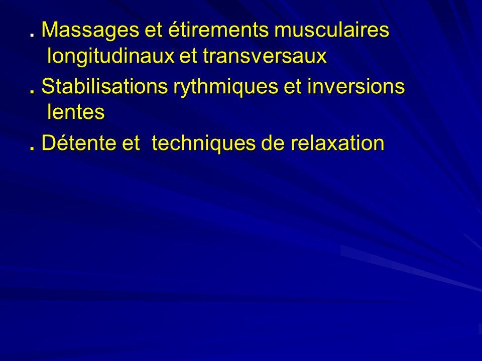 . Massages et étirements musculaires longitudinaux et transversaux