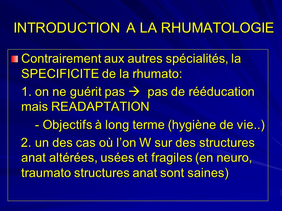INTRODUCTION A LA RHUMATOLOGIE