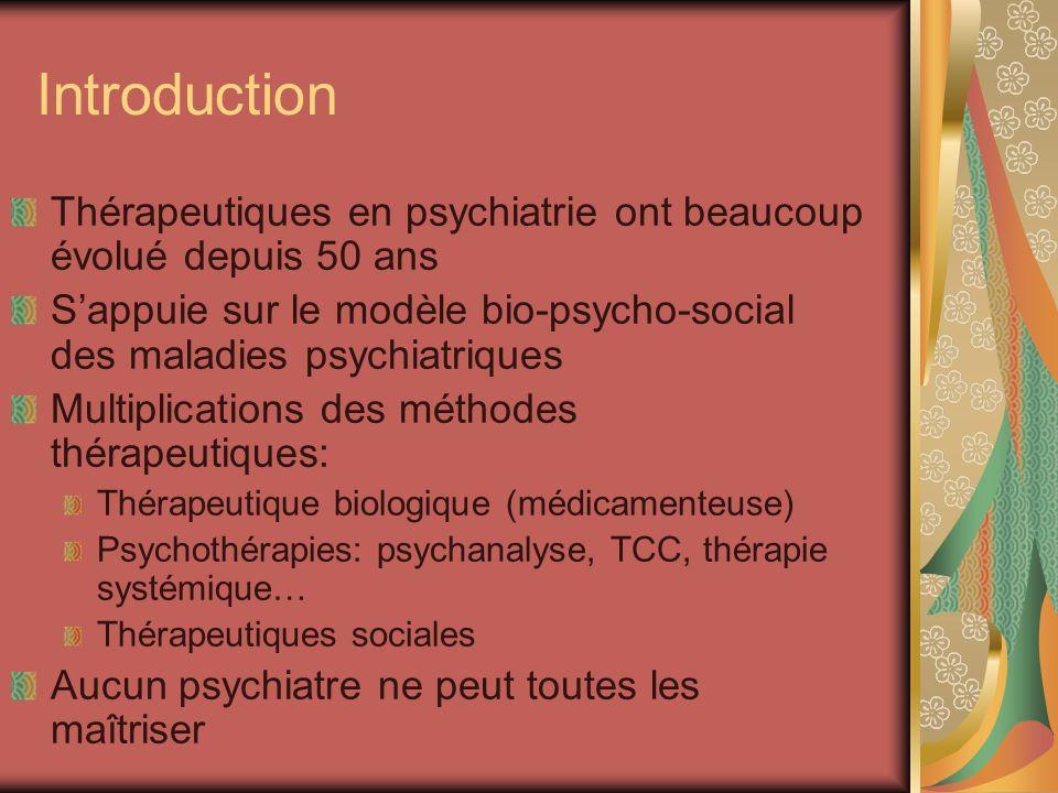 Introduction Thérapeutiques en psychiatrie ont beaucoup évolué depuis 50 ans. S'appuie sur le modèle bio-psycho-social des maladies psychiatriques.