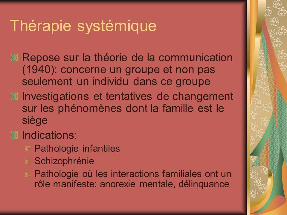 Thérapie systémique Repose sur la théorie de la communication (1940): concerne un groupe et non pas seulement un individu dans ce groupe.