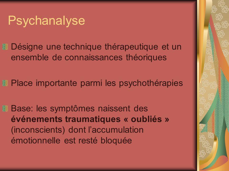 Psychanalyse Désigne une technique thérapeutique et un ensemble de connaissances théoriques. Place importante parmi les psychothérapies.