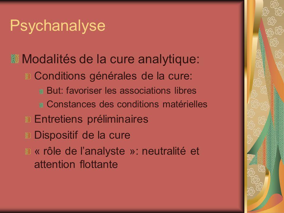 Psychanalyse Modalités de la cure analytique: