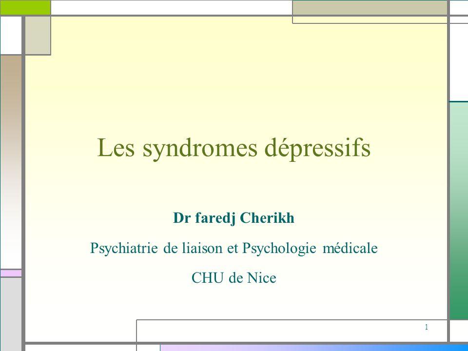 Les syndromes dépressifs