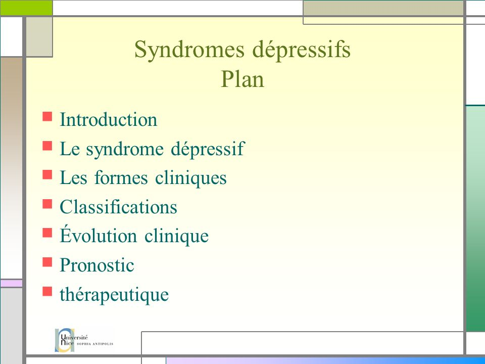 Syndromes dépressifs Plan