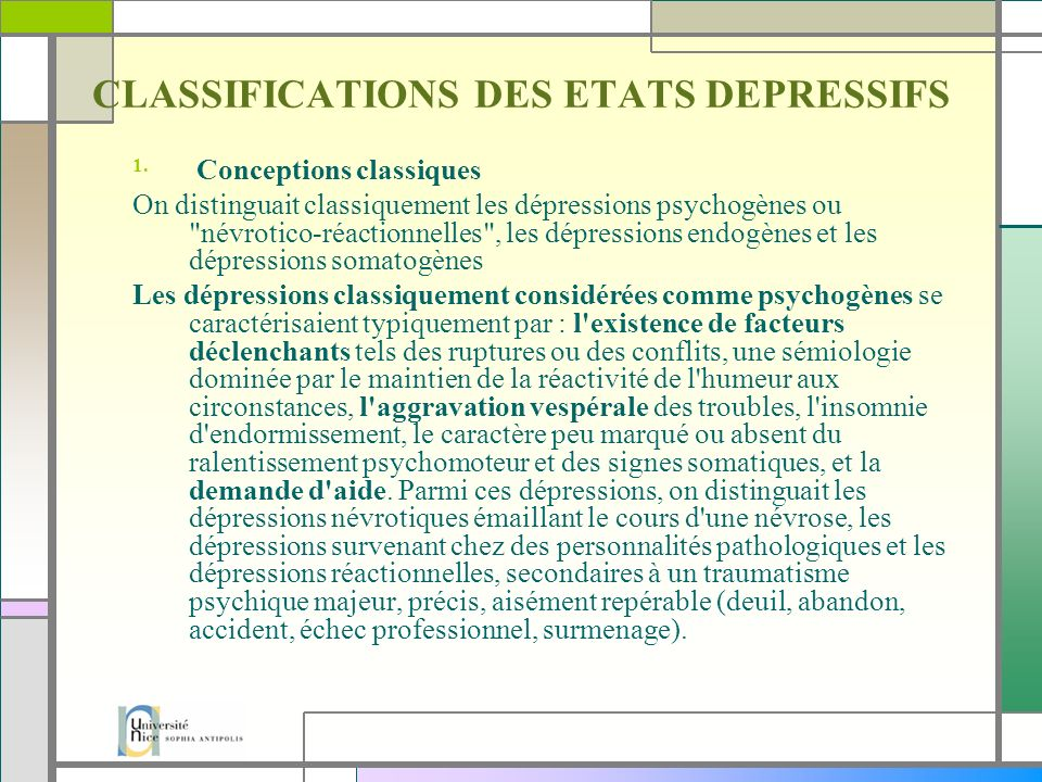 CLASSIFICATIONS DES ETATS DEPRESSIFS