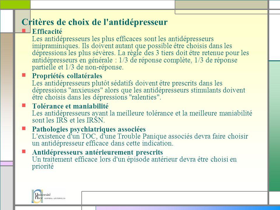 Critères de choix de l antidépresseur