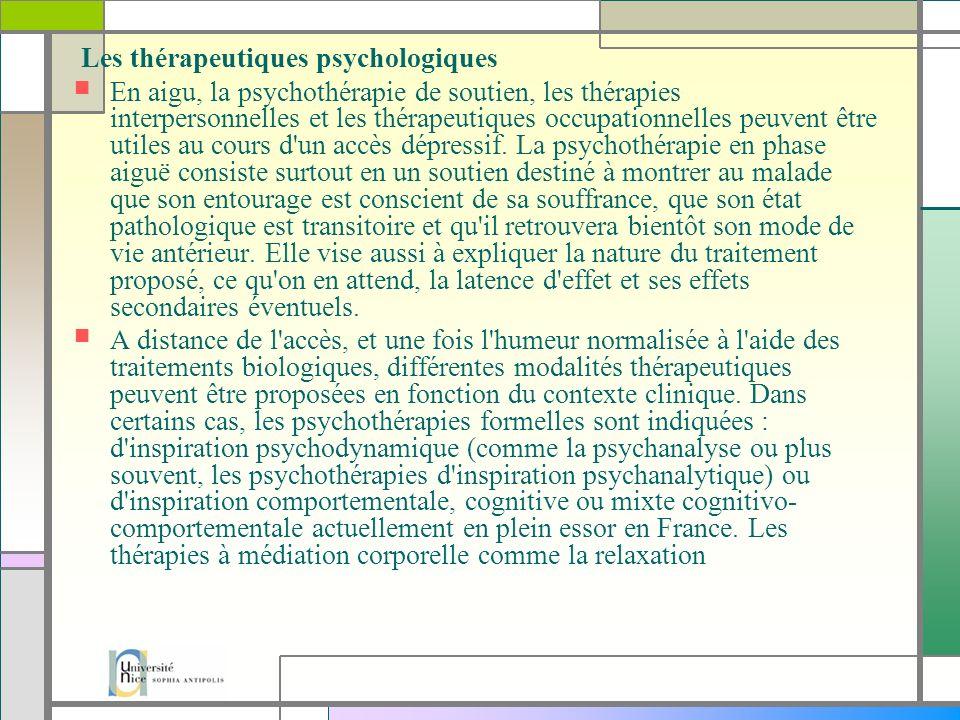 Les thérapeutiques psychologiques