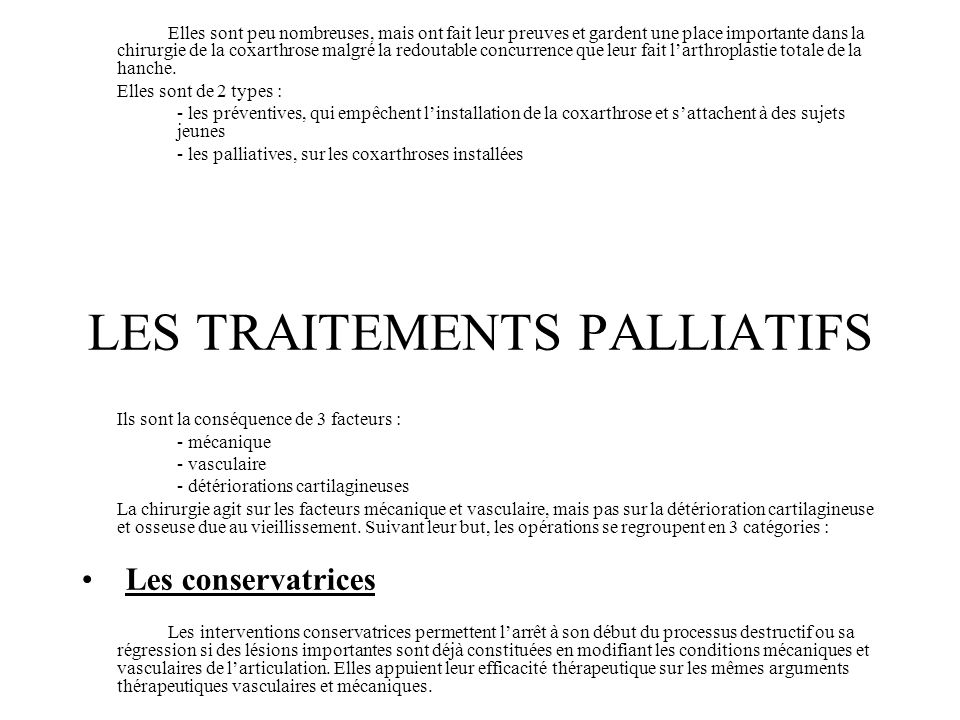 LES TRAITEMENTS PALLIATIFS