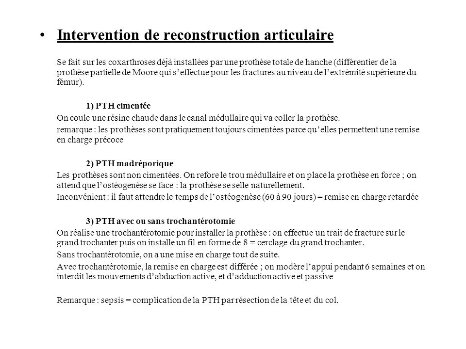 Intervention de reconstruction articulaire